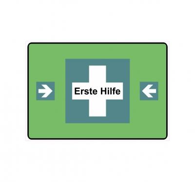 "Schild Hinweisschild Hinweis /""Erste Hilfe/"" Kasten Notkasten SOS Arzt Doktor Doc"