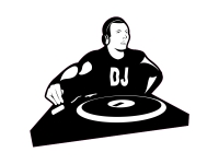 1 x Aufkleber DJ Turntable LP Disc Jockey Music Club Party Sticker Tuning Fun