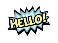 1 x Aufkleber Hello Hallo Salut Ciao Gruß Comic Schrift Tuning Sticker Decal Fun