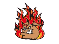 1 x Aufkleber Fire Bulldog Dogge Dog Fire Feuer Hund Sticker Tuning Comic Fun US