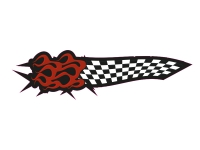 1 x Aufkleber Checkered Flag Flame Tuning Ka-boom Sticker Fun Gag Auto Decal FBI