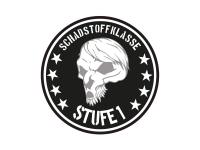 1 x Aufkleber Schadstoffklasse 1 Totenkopf Skull Lustig Plakette Feinstaub Fun