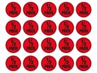 1 x Aufkleber 20 Halber Preis ½ Rabatt Aktion Angebot Sticker Rund Rot Laden NEU