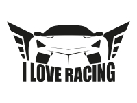 1 x 2 Plott Aufkleber I Love Racing Turbo Sticker Tuning Autoaufkleber JDM OEM
