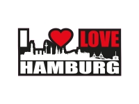 1 x Aufkleber I Love Hamburg Skyline Sticker Autoaufkleber Tuning Stickerbomb