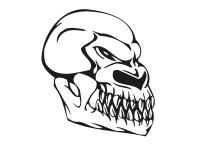 1 x 2 Plott Aufkleber 004 Totenkopf Reptil Skull Bones Sticker Tuning Static Fun
