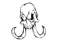 1 x 2 Plott Aufkleber 013 Totenkopf Reptil Skull Bones Sticker Tuning Static Fun