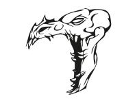 1 x 2 Plott Aufkleber 015 Totenkopf Reptil Skull Bones Sticker Tuning Static Fun