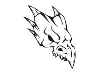 1 x 2 Plott Aufkleber 019 Totenkopf Reptil Skull Bones Sticker Tuning Static Fun